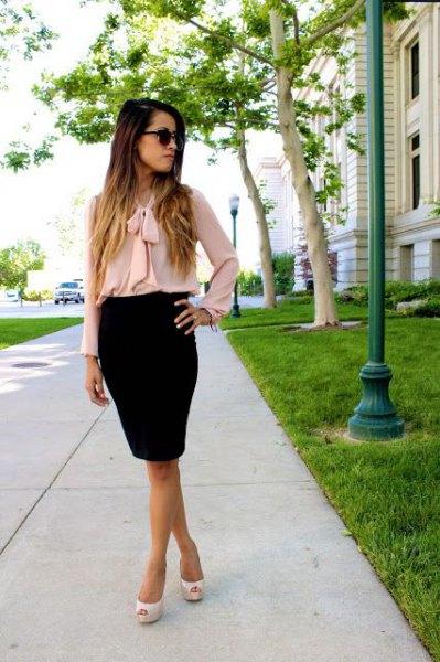 blush pink bow blouse black pencil skirt