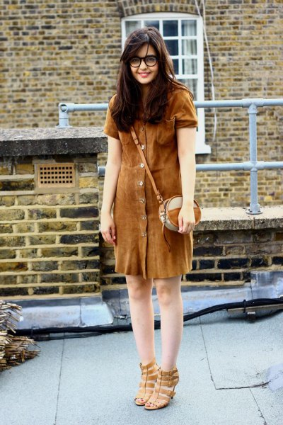 brown button front suede shirt dress
