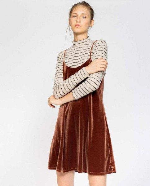brown velvet slip dress striped long sleeve tee