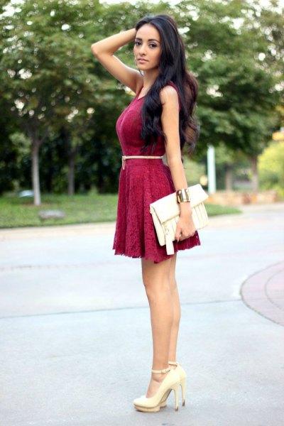 burgundy belted lace skater dress
