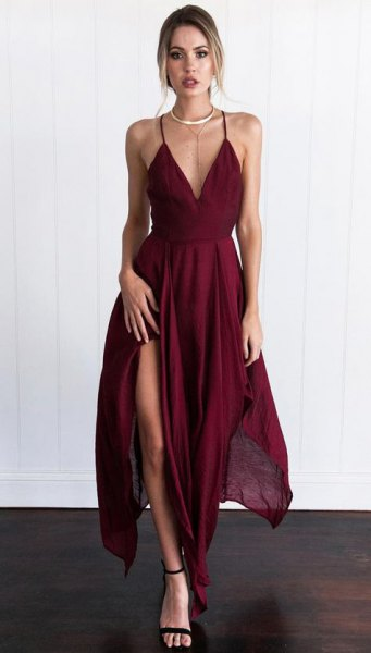 burgundy deep v neck high split maxi dress