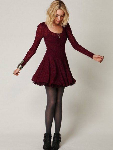burgundy floral lace skater dress ankle boots