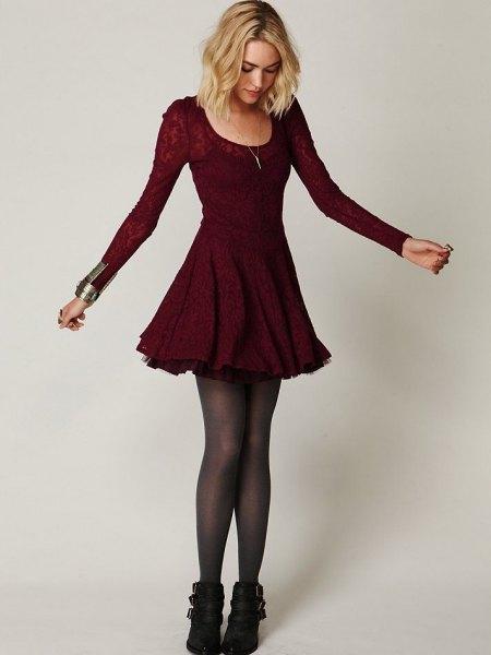 15 amazing burgundy skater dress outfit ideas fmagcom