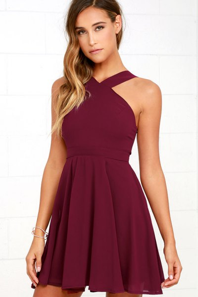 burgundy halterneck fit and flare dress