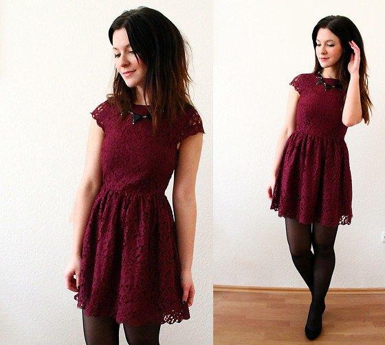 burgundy lace flare mini dress stockings ballet flats