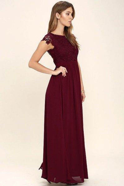 burgundy lace sleeve chiffon long dress