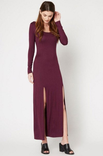 burgundy long sleeve sheath maxi dress