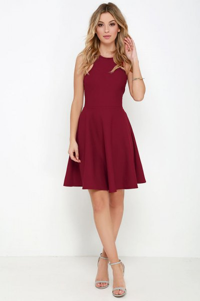 burgundy skater dress pale pink heels