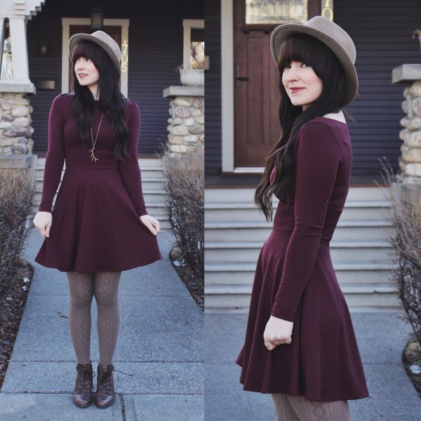 burgundy skater dress pink felt hat