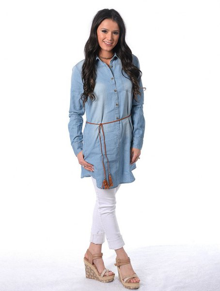 chambray belted tunic dress white jeans