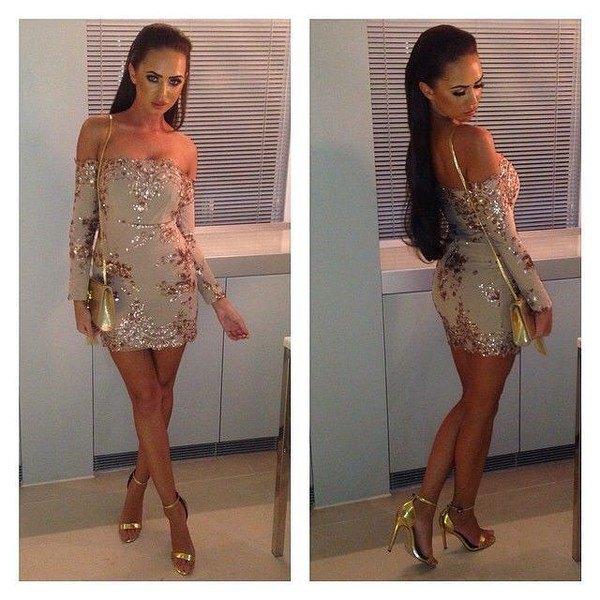 cold shoulder pink bodycon dress gold sequin details