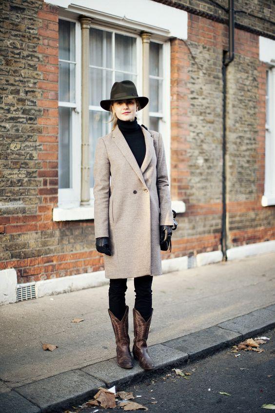 cowboy boots camel coat