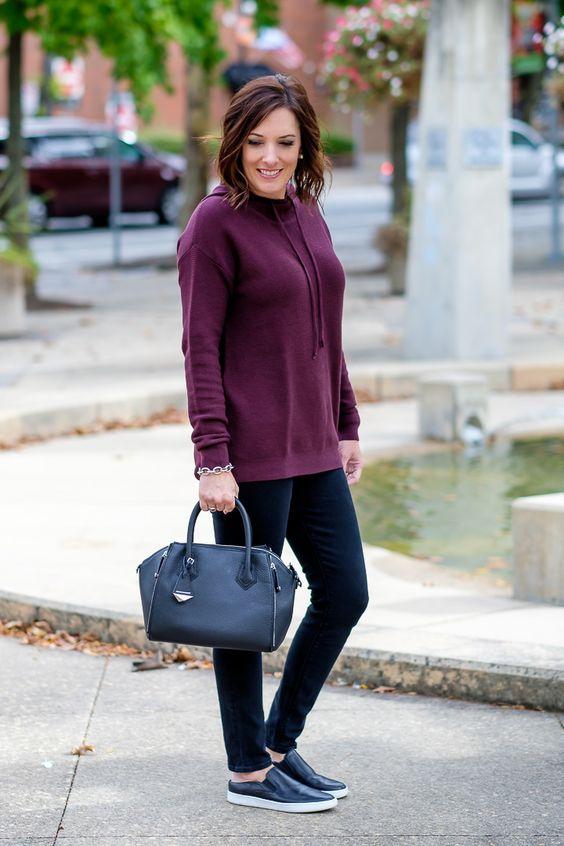 cowl neck sweatshirt purple