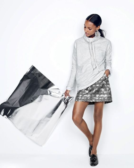 cowl neck sweatshirt silver skirt