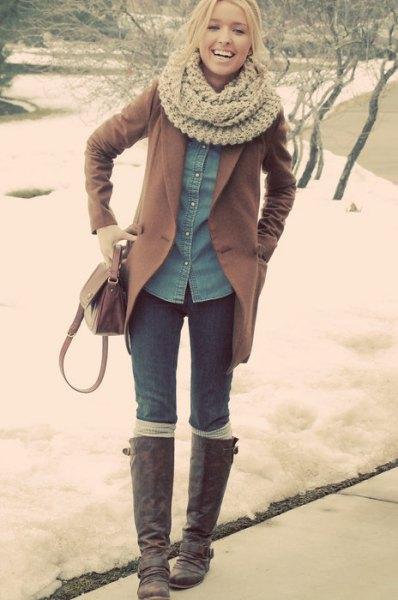 crepe scarf denim shirt camel wool coat