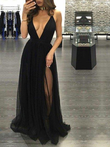 deep v neck hight split chiffon dress