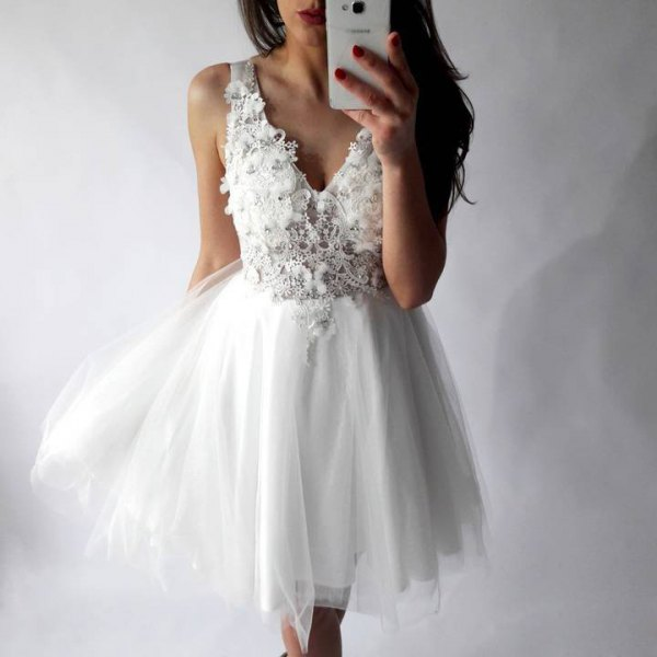 deep v neck lace and chiffon tulle dress