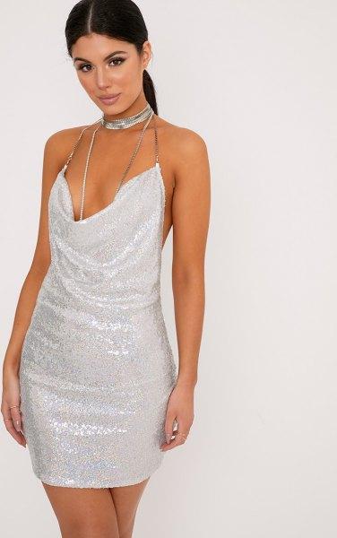 deep v neck sequin mini dress silver choker