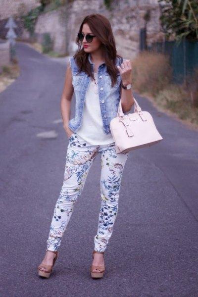 denim vest white floral pants