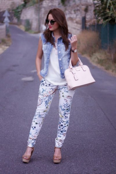 denim vest white floral pants
