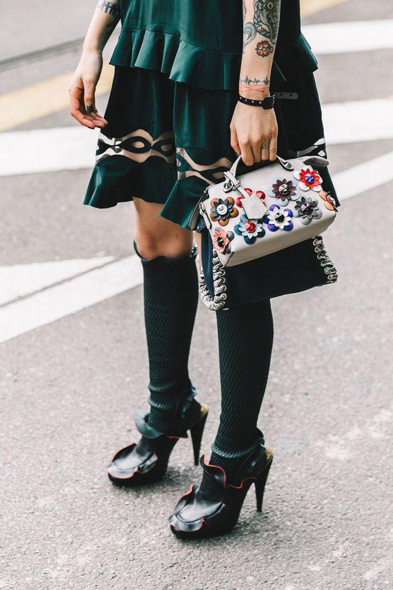 floral clutch bag green
