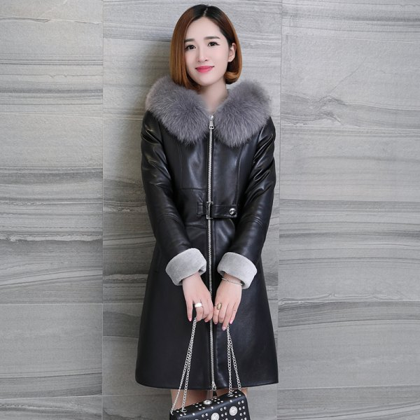 fur collar leather knee length dress