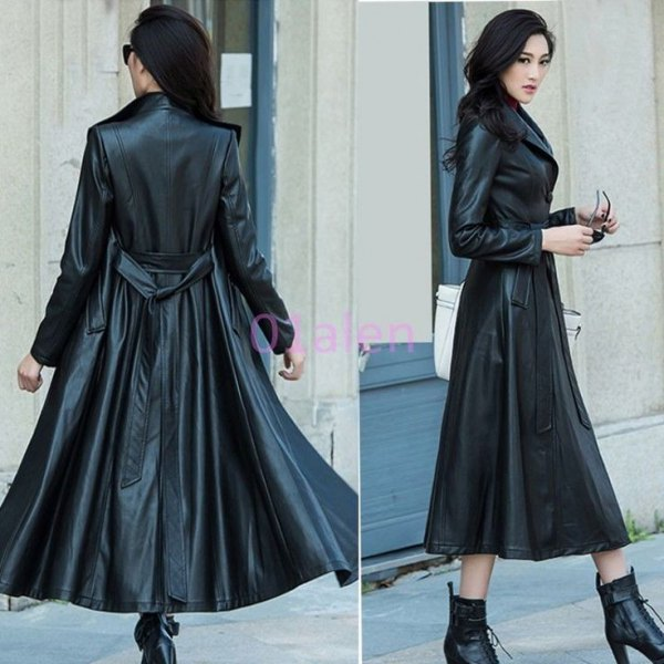 fur collar maxi leather trench coat
