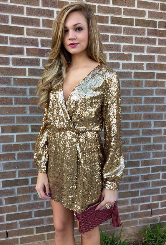 gold sparkly dress wrapped