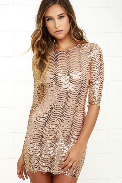 gold bodycon dress silver sequin pattern
