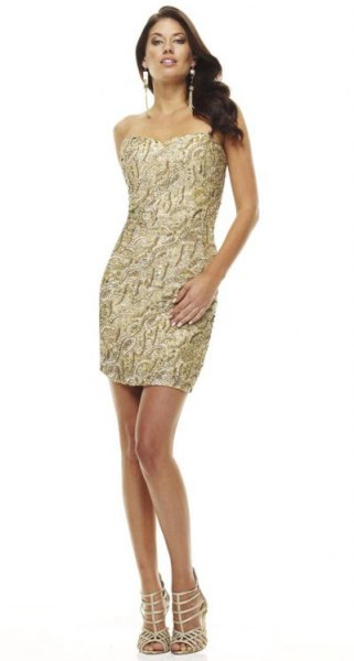 gold bodycon mini dress subtle black pattern