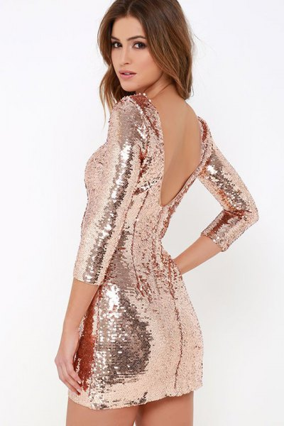 gold sequin low back bodycon dress
