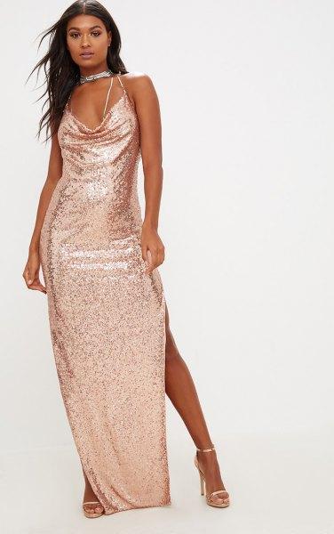 5714fce48d75 14 Stunning Rose Gold Dress Outfit Ideas - FMag.com