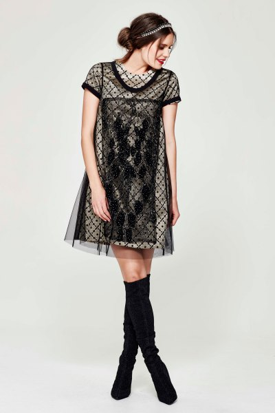 gold shift dress black semi sheer overlay