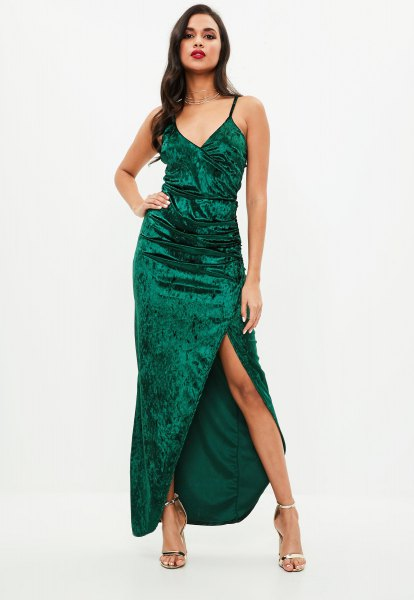 green high split velvet maxi dress