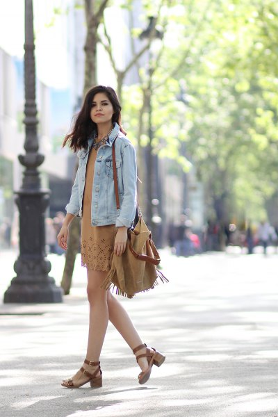 green suede dress denim jacket