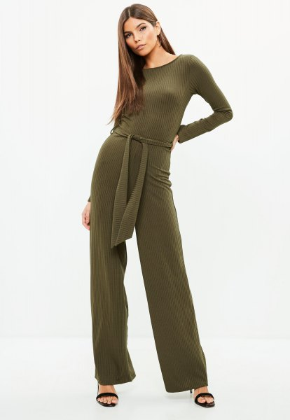 green tie waist wide leg jumpsuit