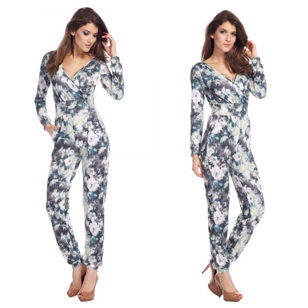 grey and white floral jumpsuit