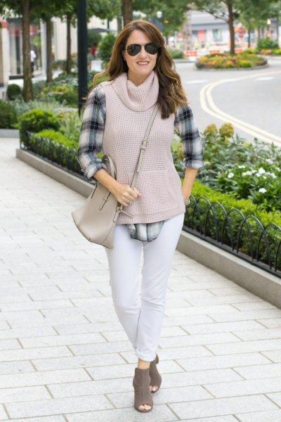 grey cowl neck sleeveless sweater plaid boyfriend shirt