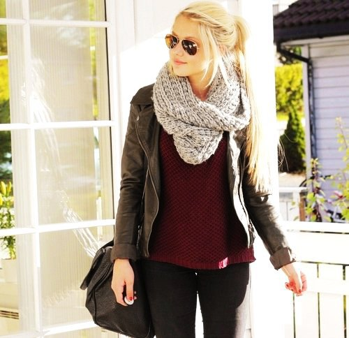 grey infinity scarf black leather jacket