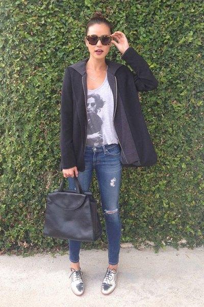 grey print tee black sweater jacket silver metallic shoes