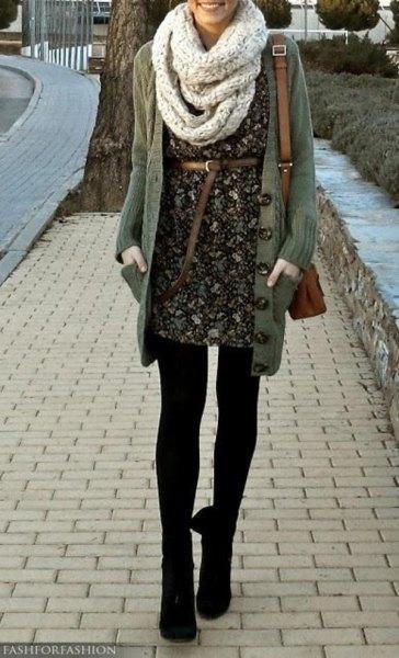 grey scarf black floral belted dress long cardigan
