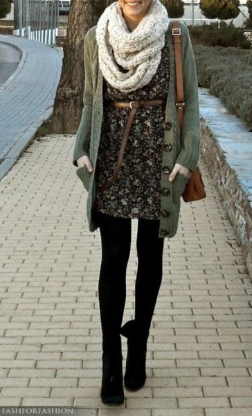 grey scarf black floral belted dress long cardigan