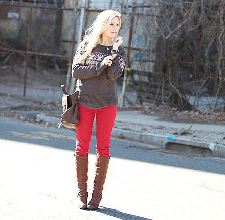 grey sweater knee high boots