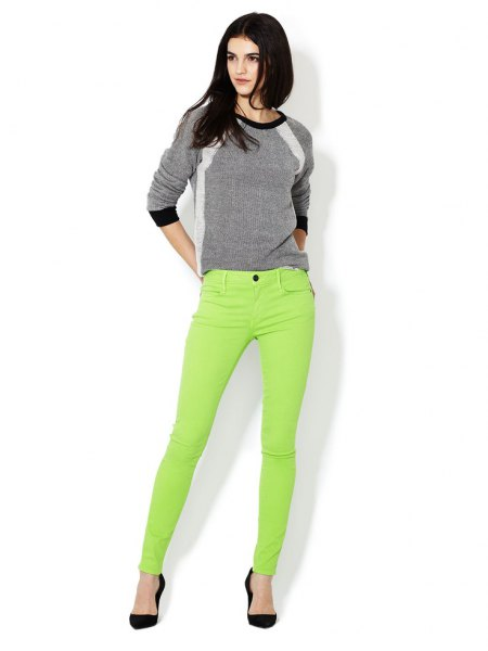 grey sweater lime green skinny jeans