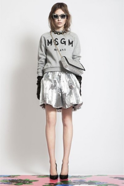 grey sweater silver metallic mini skirt