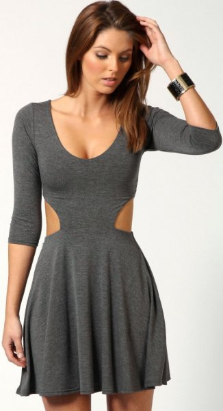 grey three quarter sleeve cotton skater dress
