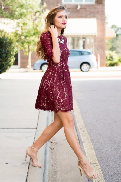 half sleeve fit and flare mini dress