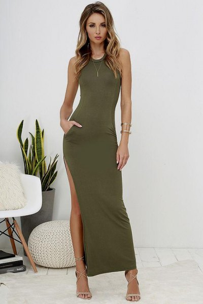 high split bodycon maxi dress