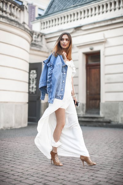 high split white maxi dress denim shirt