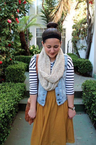 ivory scarf denim vest navy and white striped t shirt